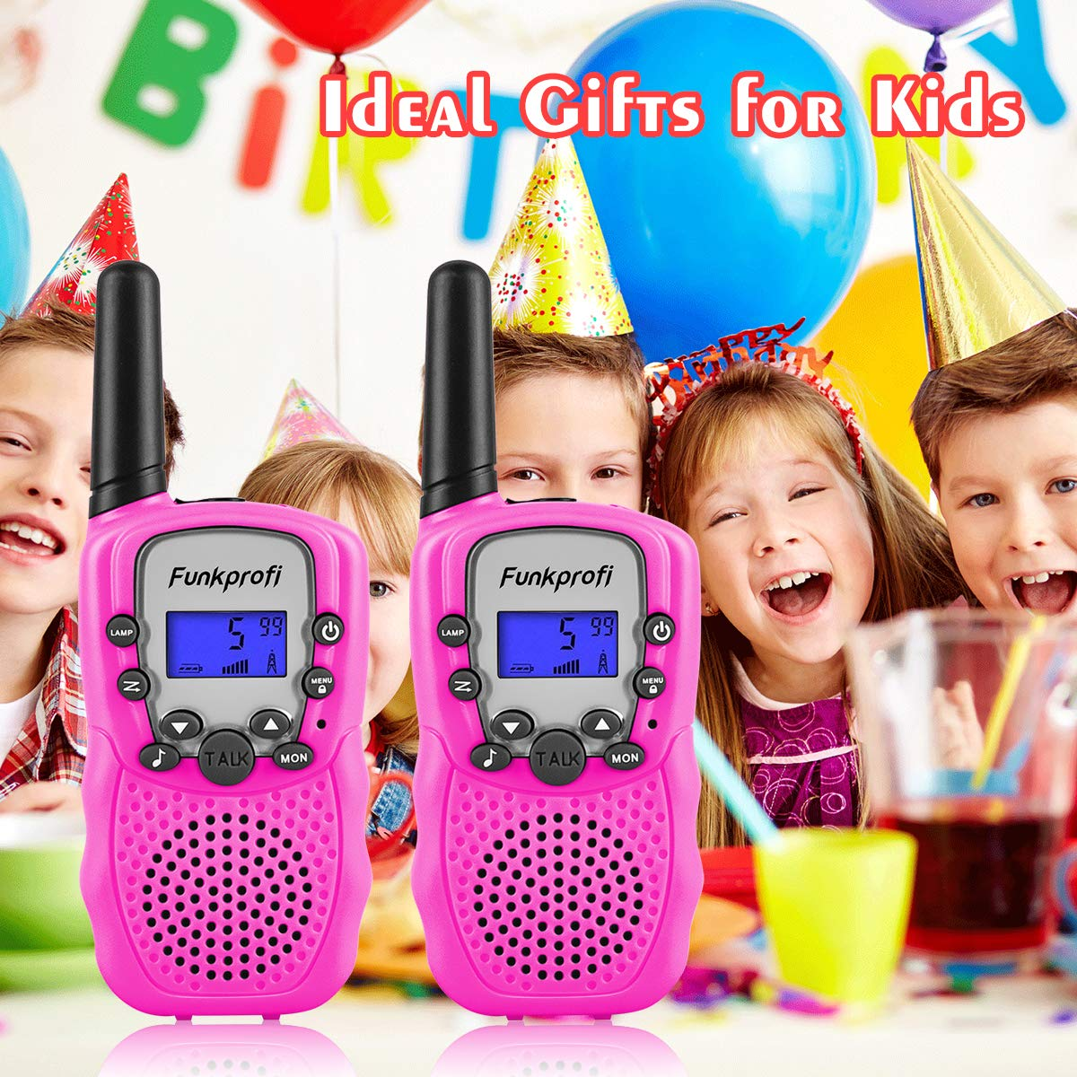Funkprofi Walkie Talkies for Kids, VOX Hands Free Noise Canceling Kids Walkie Talkies with Belt Clip and LCD Screen, 22 Channels Long Range Two Way Radios for Camping Hiking Family Activities by Funkprofi (Image #2)