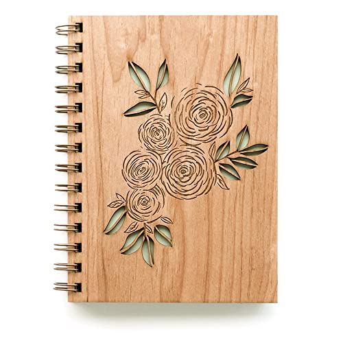 Ranunculus Laser Cut Wood Journal (Blank Pages Notebook/Women/To Write  In/Mother's Day Gift/Handmade)