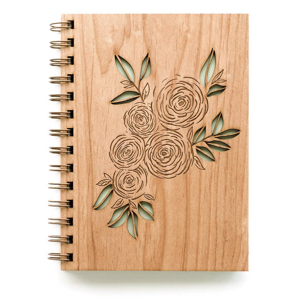 Ranunculus Laser Cut Wood Journal (Notebook/Women / To Write In/Mother's Day Gift/Handmade)