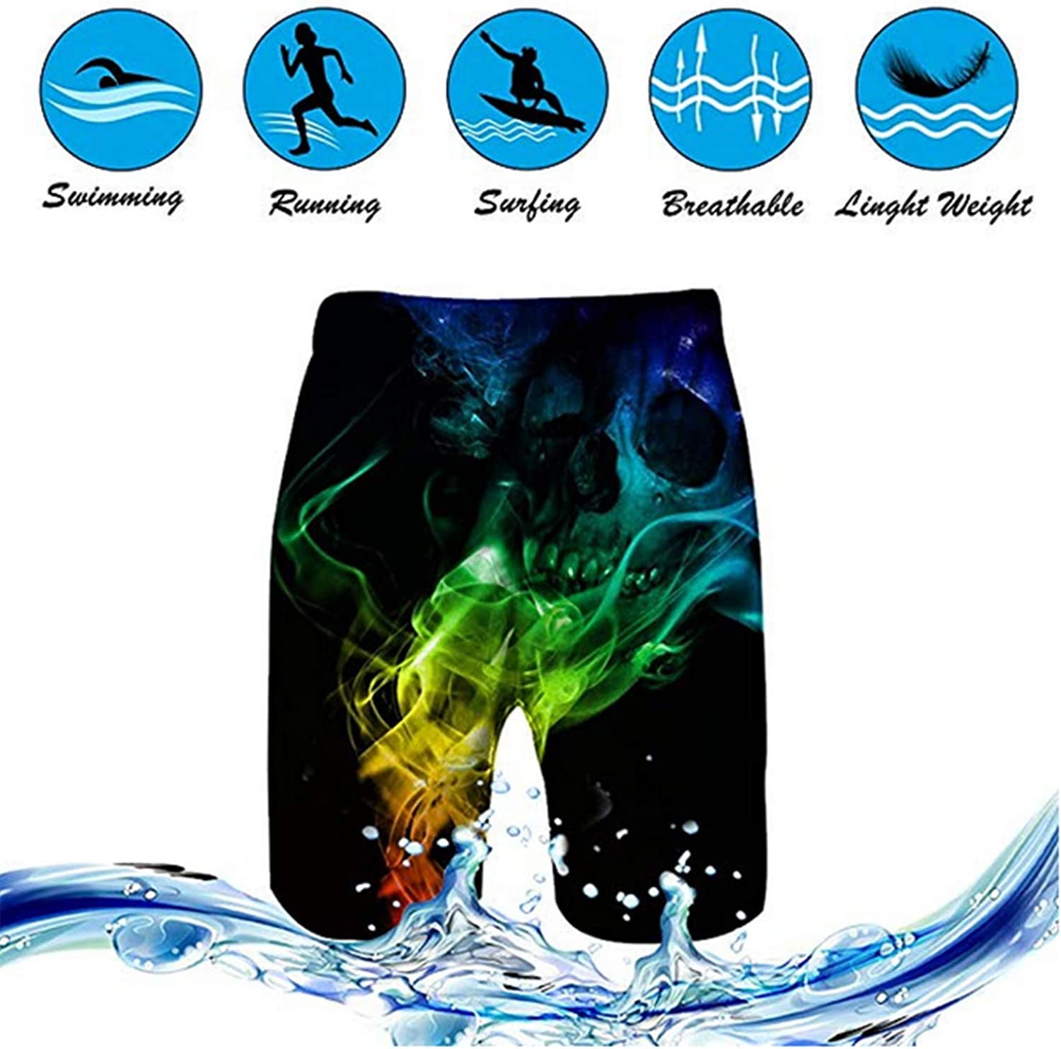 ReneaGrigsbyw Mans Aphex Twin Music Band Daily Beach Board Shorts Quick-Drying Drawstring Running Shorts XL White