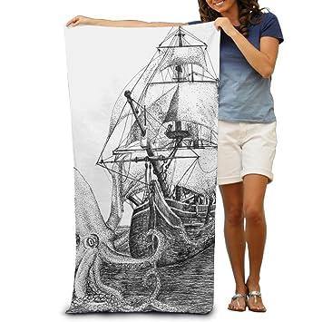 Ail barco olas y pulpo Kraken toallas de baño de playa Baño Cuerpo Ducha Toalla,