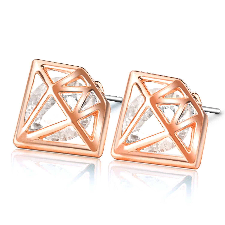 UHIBROS Diamond Shaped Earrings, Unisex Hypoallergenic Stainless Steel Earrings,Cubic Zirconia Stud Earrings Rose Gold,1Pair