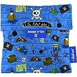 Rolleat Snack'n'Go-KIDS Piratas azul - Porta Snacks reutilizable - porta meriendas - bolsa merienda- BPA Free