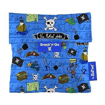 Rolleat SnacknGo-KIDS Piratas azul - Porta Snacks reutilizable - porta meriendas - bolsa merienda- BPA Free