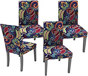 Muuyi Dining Room Chair Covers Paisley Stretch Chairs Slipcovers Seat Slipcover Furniture Protector for Ceremony Hotel Wedding - 4 Pack