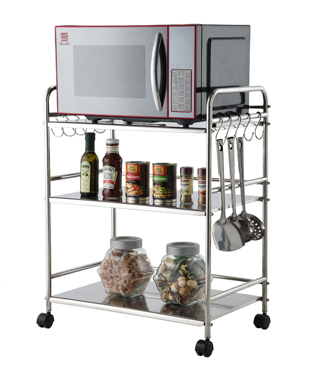 EASYTECH Durable 3-Tier Microwave Oven Storage Rack Kitchen Tableware Shelves Counter and Cabinet Shelf With 10 Side Hooks