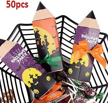 XuBa 50PCS Forma de lápiz Caja de Dulces de Halloween Caja de ...