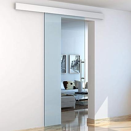 Puerta corredera de interior de cristal 210 x 75 cm Riel de aluminio Benzoni: Amazon.es: Bricolaje y herramientas