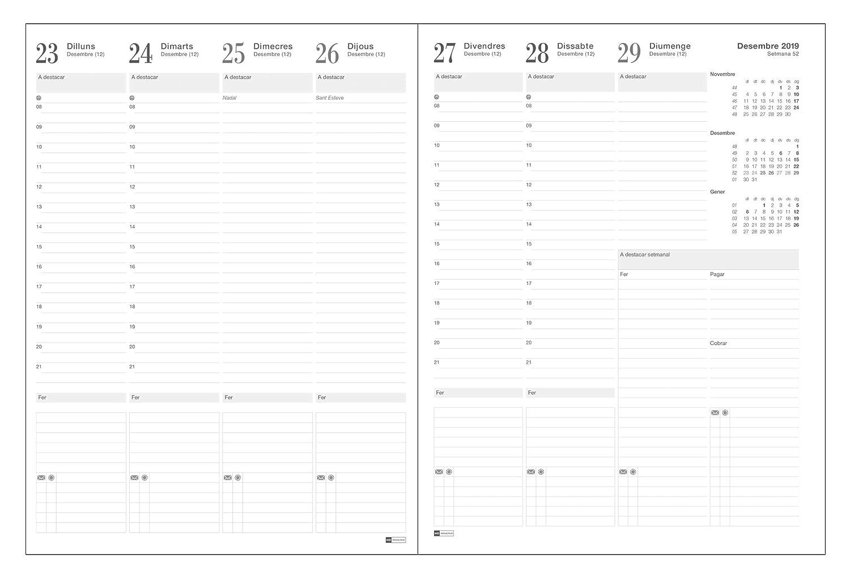 Miquelrius 33410 - Agenda 2020, Día Página (122 x 168 mm), Luxor Negro, Catalán