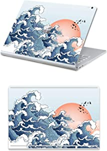 "MasiBloom Top & Bottom Sticker Decal for 13"" Microsoft Surface Book 2 (2017 Released) 13.5 inch Protective Laptop Cover Skin (for 13.5"" Surface Book 2, Wave/Seagull- Red)"