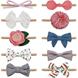 Salsie Baby Girl Headbands and Hair Bows For Newborn Infant Toddler Nylon Hairbands, Gift, 10 Pack Hair Accessories Gift Multi, Small