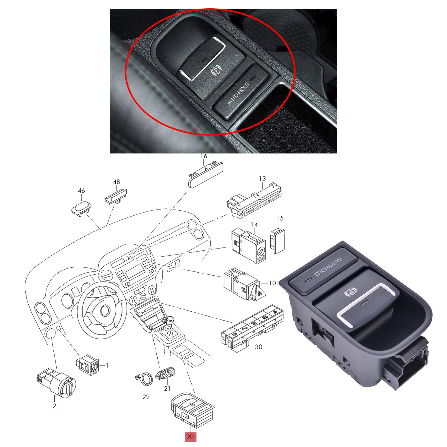 1 Pc Black Aftermarket Replacement Handbrake Switch Brake Button Electronic Parking Part Number 5N0927225A Compatible with Tiguan 2008-2015/// Sharan 2011-2016// Seat Alhambra 2011-2015