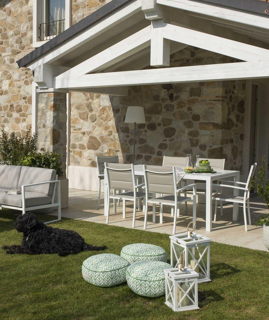 Juego de comedor de jardín de aluminio blanco y textileno Mod.Eagle – Mesa rectangular y 6 sillas: Amazon.es: Jardín