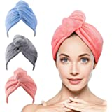 Microfiber Hair Towel - 3 Pack Hair Towel Wrap Super Absorbent Hair Towels for Women Anti Frizz Hair Drying Towel for Curly,