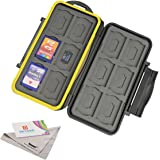 Deyard K020 Water-resistant Memory Card Case Shockproof Memory Card Carrying Box: 24 Slots for 12 SDHC/SDXC Cards and 12 Micro SD Cards - Upgraded Rubber Sealed Protector