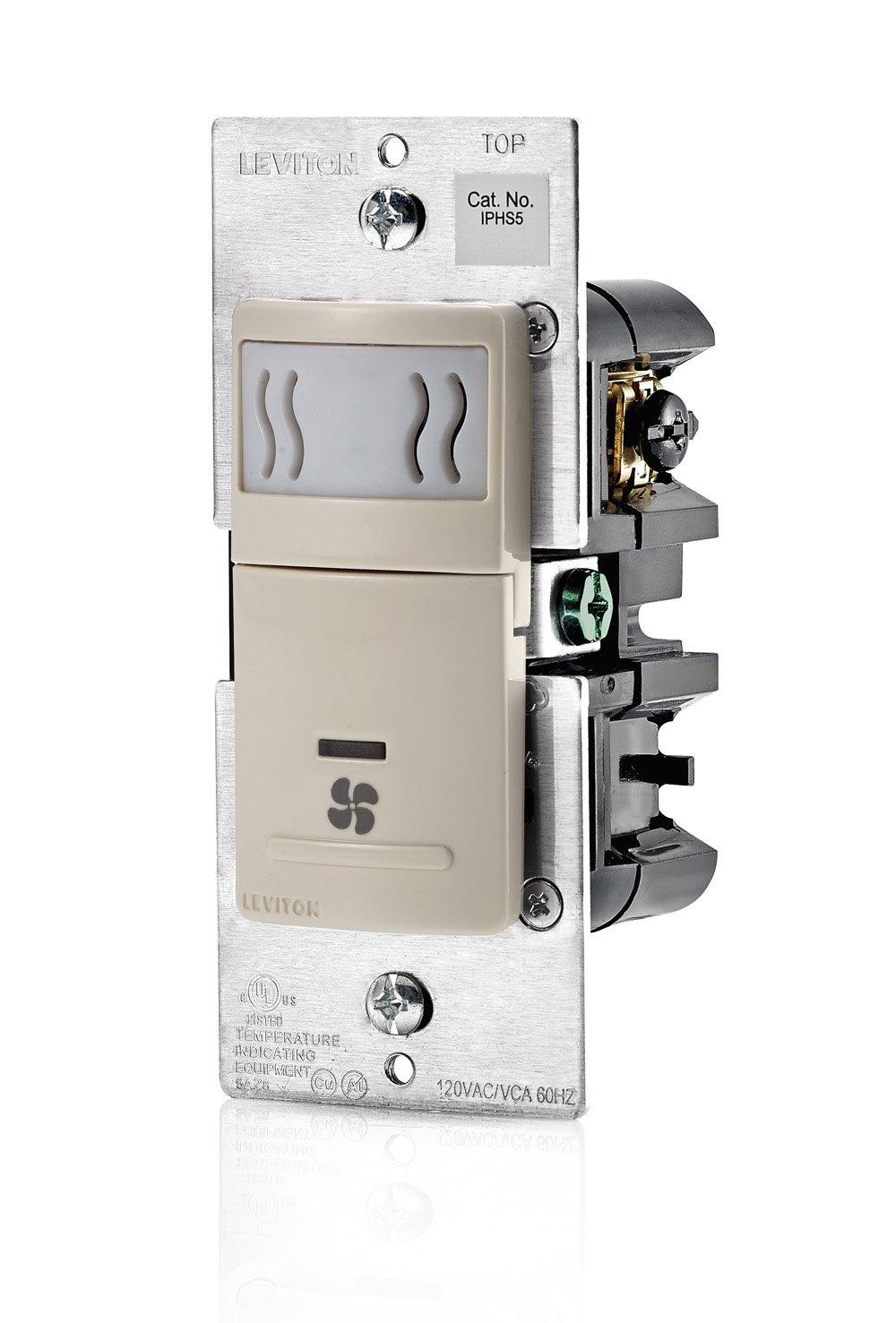 Leviton IPHS5-1LT Decora In-Wall Humidity Sensor & Fan Control , 3A, Single Pole, Light Almond