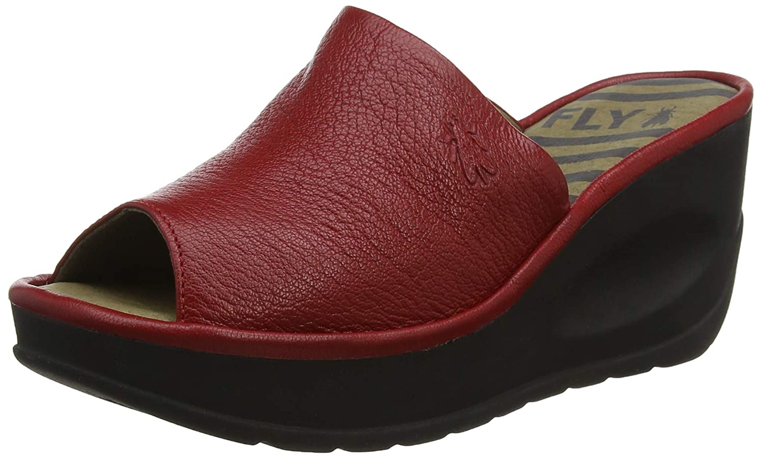 Lipstick Red Fly London Womens Jamb Mousse Summer Leather Wedge Heel Peep Toe Sandals