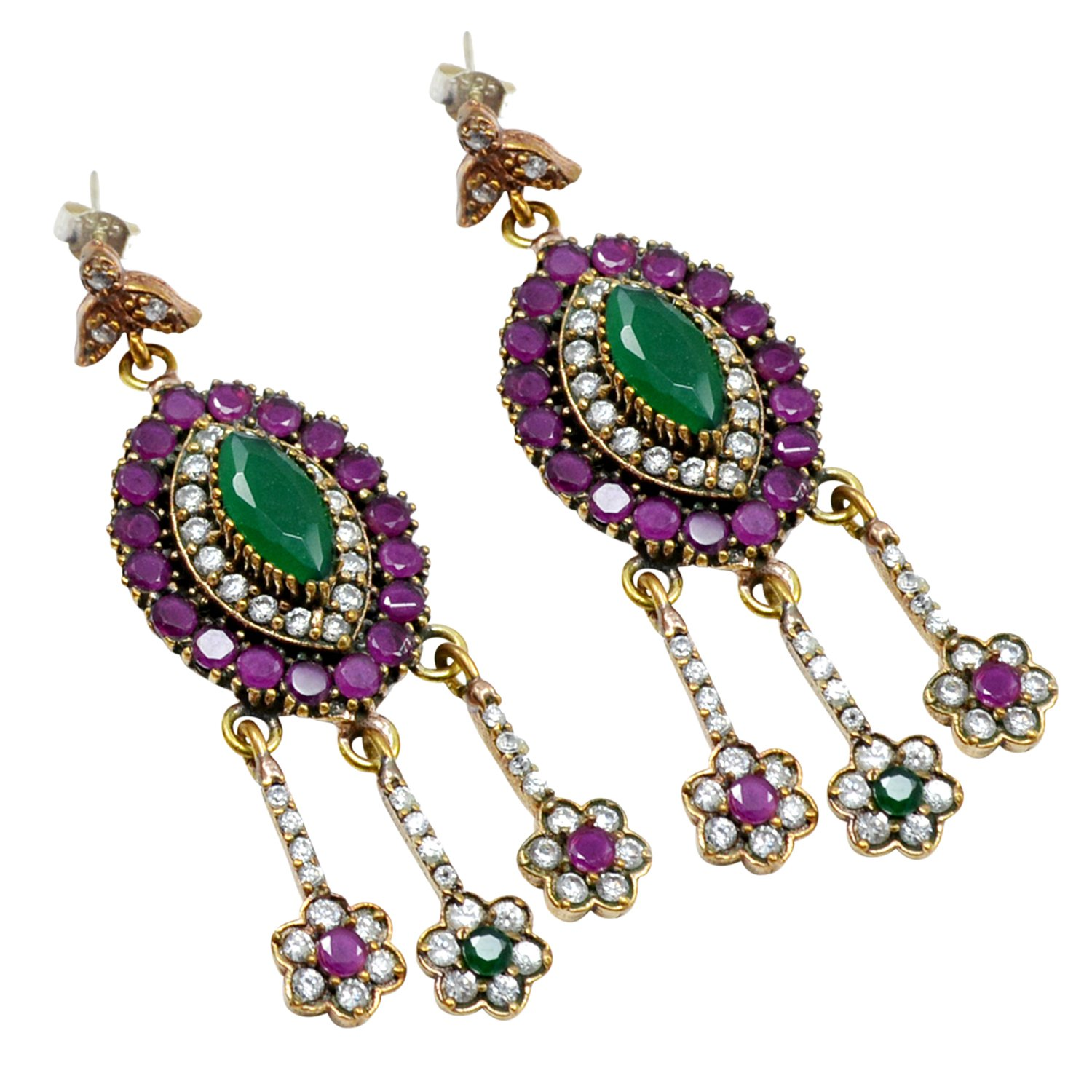 Lab 925 Sterling Silver With Bronze Drop /& Dangle Turkish Earring PG-104501 Saamarth Impex Emerald Ruby /& Topaz