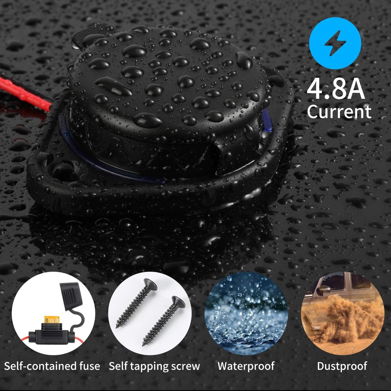 Rupse Usb Auto Steckdose 5v 4 8a Dual Auto Kfz Ladegerät Wasserdichte Power Adapter 12v 24v Mit Sicherung 5a Led Blaue Licht Für Boot Motorrad Lkw Atv Rv Roller Auto
