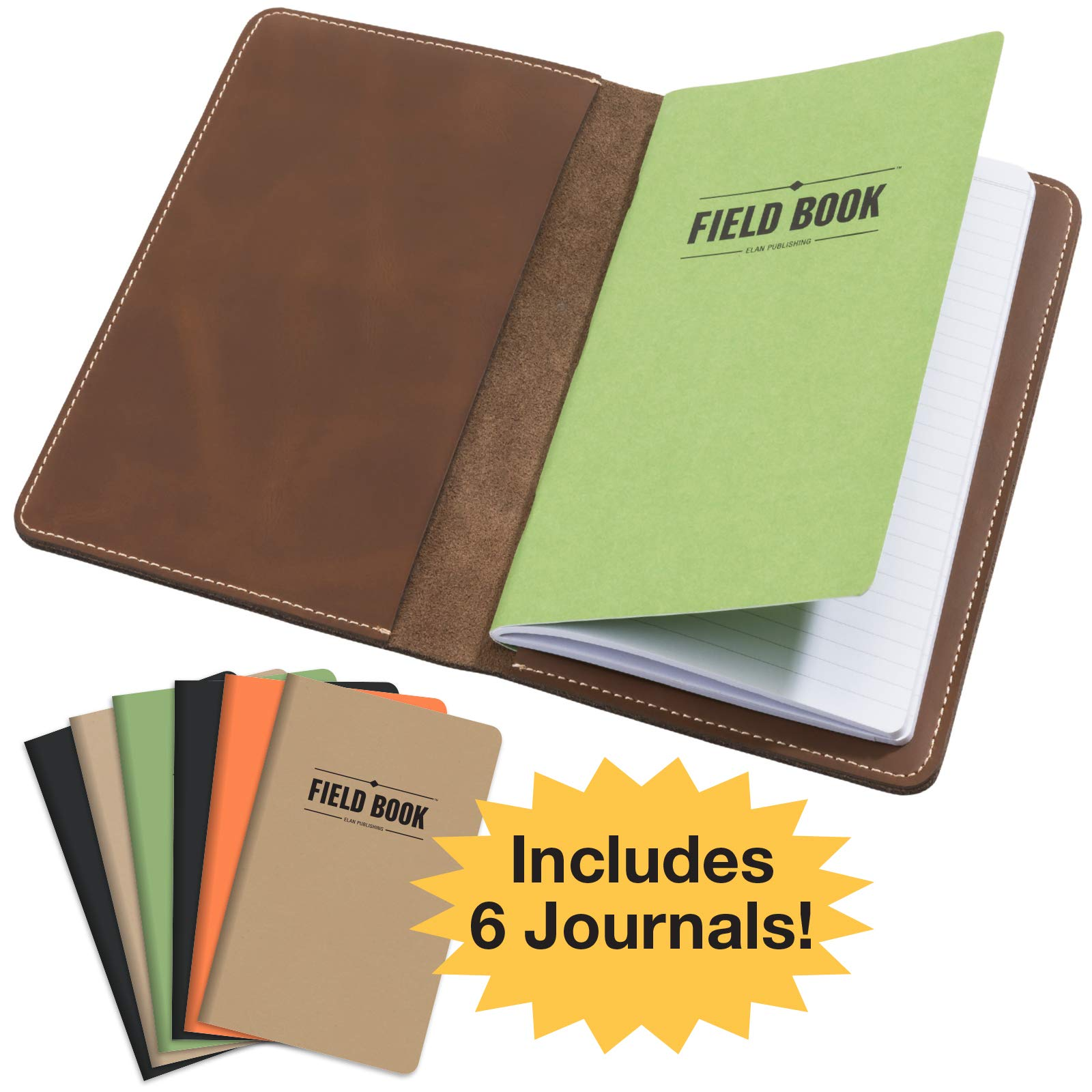 Handcrafted Stitched Leather Journal Notebook Cover with Inside Pocket: Includes 6 Bonus Refillable Field Note Book Journals/Compatible with Field Notes and Moleskine Cahier Notebook (5x8 - Medium)