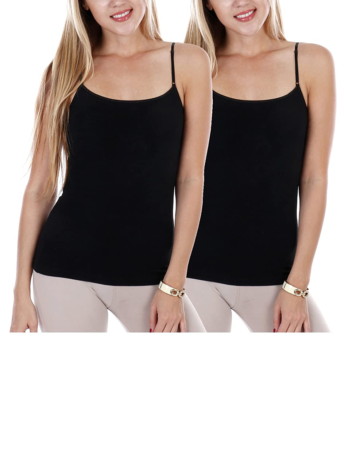20ca8d44beaaa FMS Supersoft Cotton Spandex Camisole Adjutable Strap Built-in Bra Tank Tops  Value Pack (Black Black