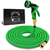 "Byhagern Expandable Garden Hose 50ft, Flexible Garden Hose with 3/4"" Solid Brass Fittings and Spray Nozzle, Durable Expanding Water Hose for Gardening"