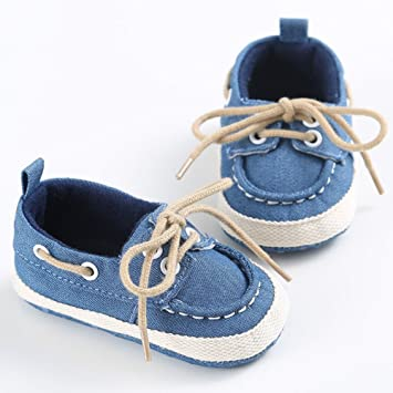 7aa97f299430 Amazon.com   Baby Newborn Girl Boy Denim Soft Sole Toddler Infant Shoes  Prewalker Sneaker (Blue
