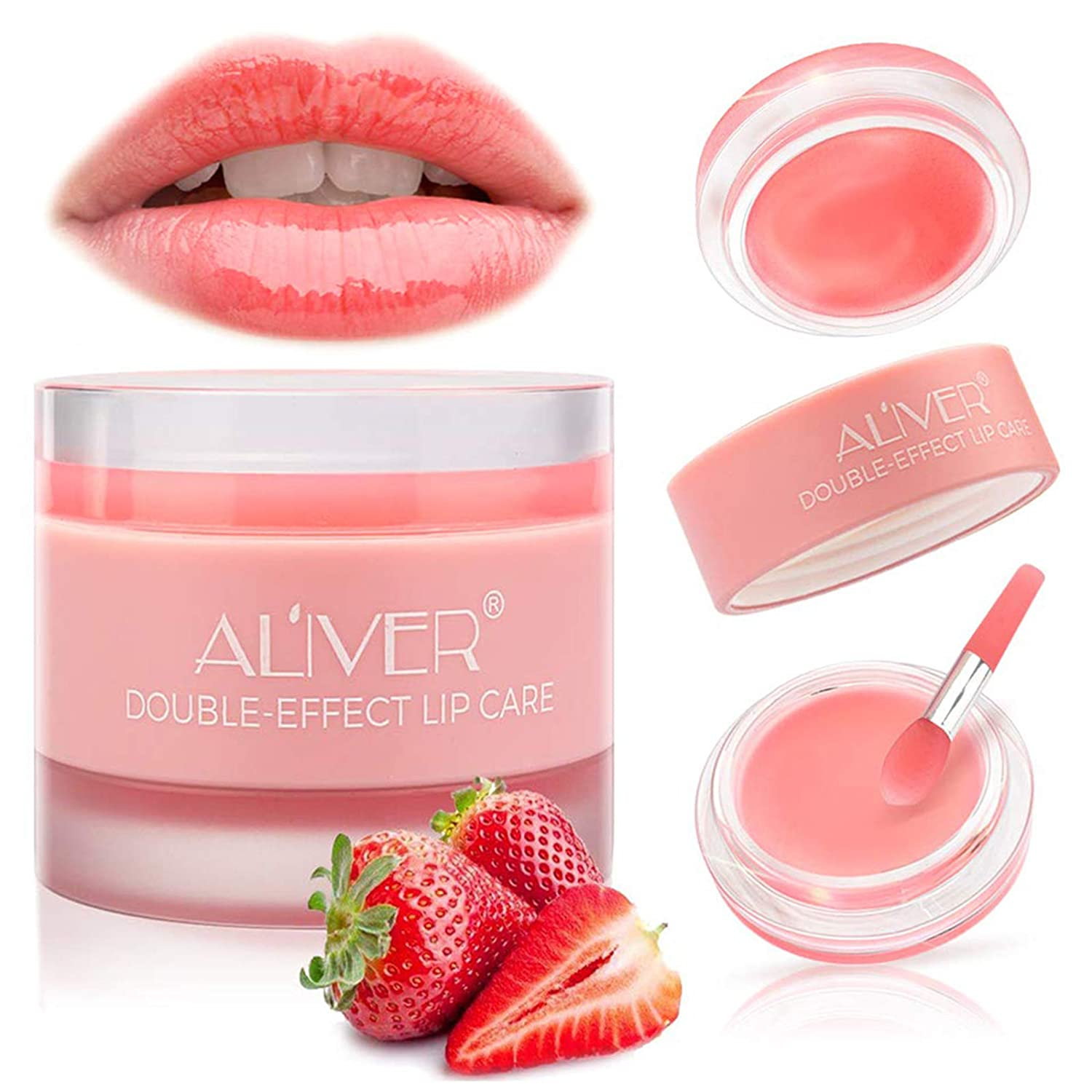 Lip Sleeping Mask, with Lip Scrubs Exfoliator & Moisturizer, Double Effect Lip Mask Overnight for Dry, Lip Masks Treatment Care, Cracked Lips, Peeling Lip Primer, Lip Repair Balm - Strawberry : Beauty