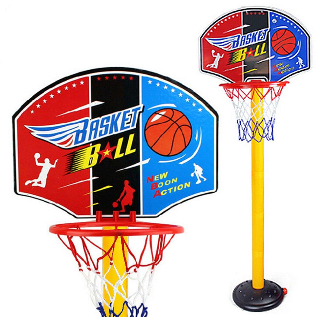 Canestro Basket, Foxom Canestro da Basket da Esterno con Supporto e 5 Sezioni Altezza Regolabile 63 a 150cm, Base Riempibile con Acqua o Sabbia