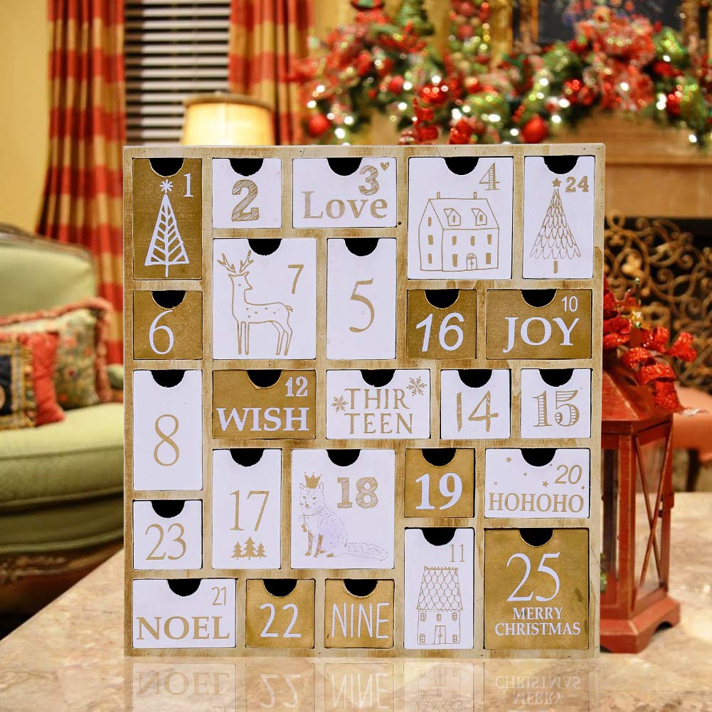 Juegoal Countdown to Christmas Nature Wood Advent Calendar with 25 Storage Drawers Decoration, 12 Tall 12 Tall