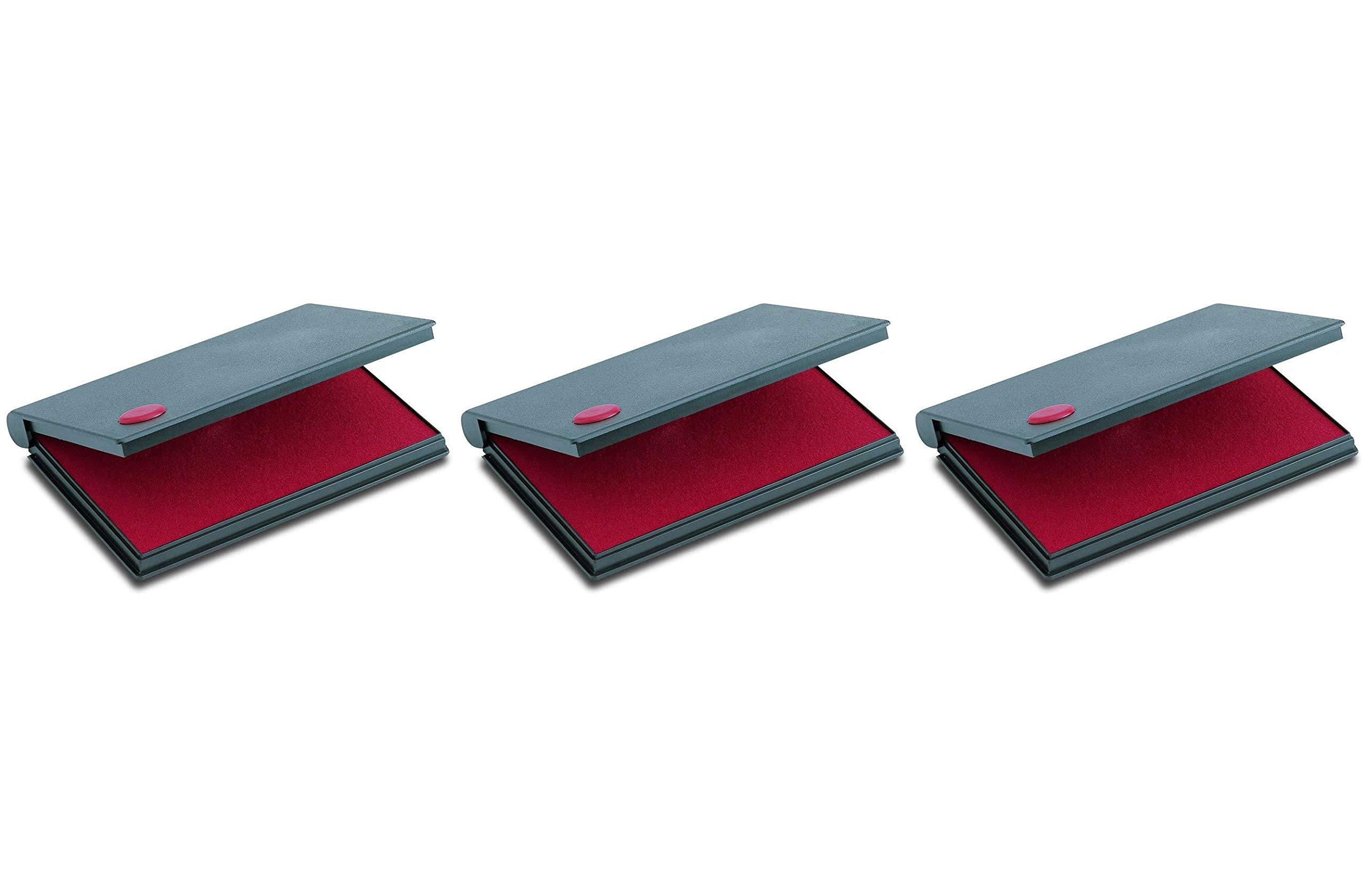 2000 PLUS Stamp Pad, Felt, Size No.2, 6-1/4'' X 3-1/2'', Red Ink (090411) (Тhrее Pаck) by 2000 PLUS