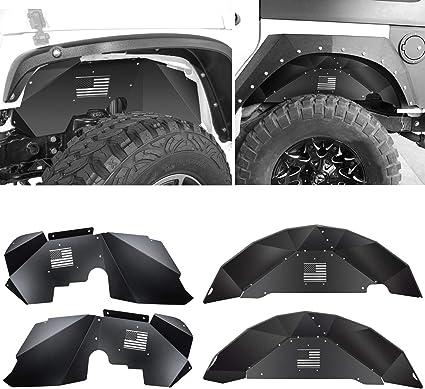 2Pcs Aluminum Black Rear Inner Fender  for Jeep Wrangler Jk 2007-2017