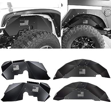 Sunluway Front and Rear Inner Fender Liners for Jeep Wrangler 2007-2018 JK JKU 4WD Aluminum Lightweight Design Black Splash Guards Symmetrical Design : US Flag Logo