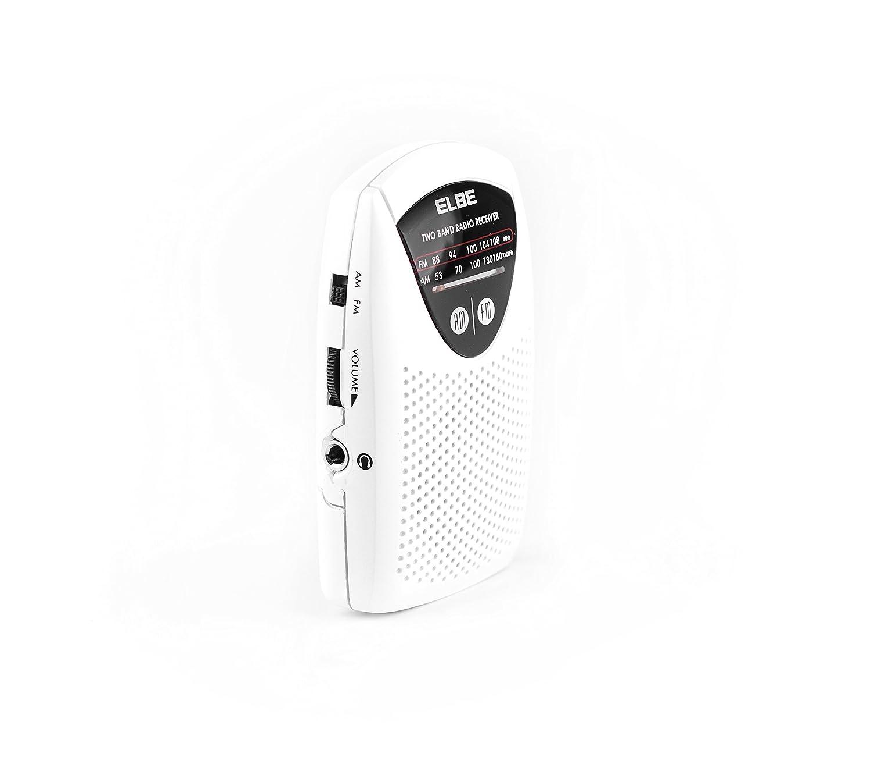 auriculares incluidos Elbe RF-50 altavoz incorporado color blanco Mini radio de bolsillo AM//FM