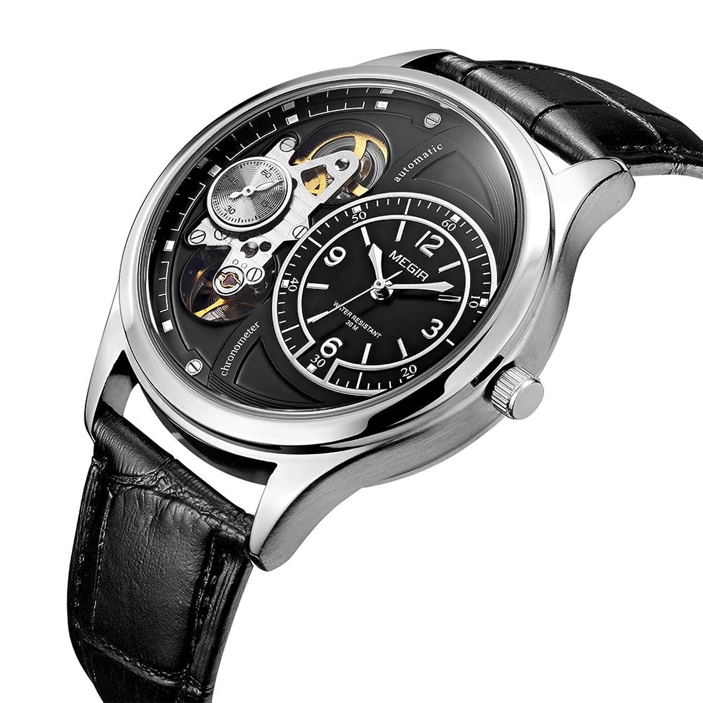 reakleメンズ高級ビジネスレザーバンドMovementクオーツアナログ表示防水腕時計 ブラック B078XG8PSSブラック