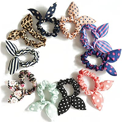 10pcs Lovely Dot Conejo Oreja coleta soporte bandas de pelo diadema lazo corbata accesorios para el pelo para Lady las niñas y las mujeres