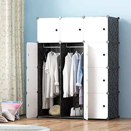 Amazon.com: MEGAFUTURE Modern Portable Closet For Hanging Clothes,  Combination Armoire, Modular Cabinet For Space Saving, Ideal Storage  Organizer (12 ...