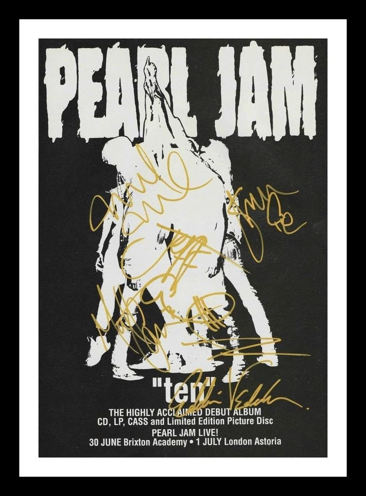 Pearl Jam Autographed Signed And Framed 21cm x 29.7cm A4 Photo Poster