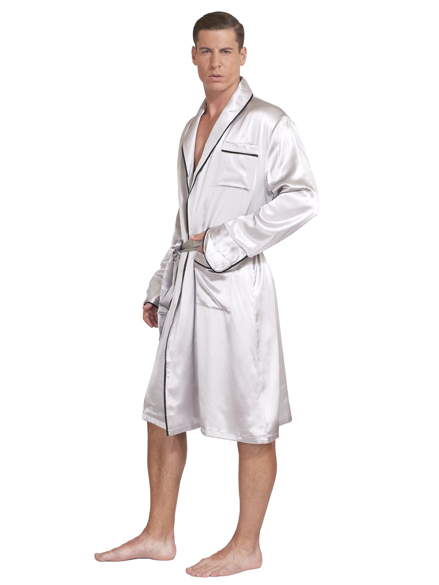 MYK Silk - Men's Classic Lightweight Silk Robe - With Gift Box (Large, Grey)