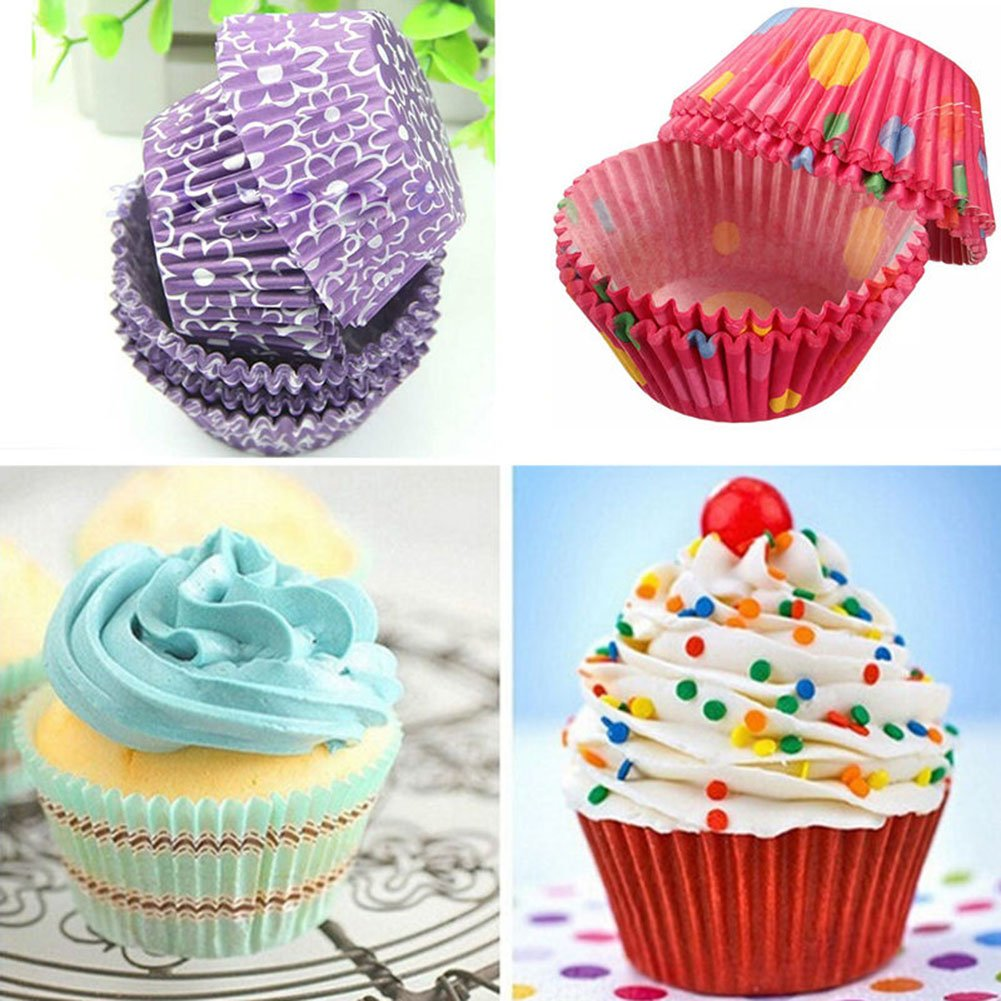 DarweirlueD 100Pcs Colorful Paper Cake Cupcake Liner Case Party Wrapper Muffin Baking Cups Home Kitchen Baking Accessories