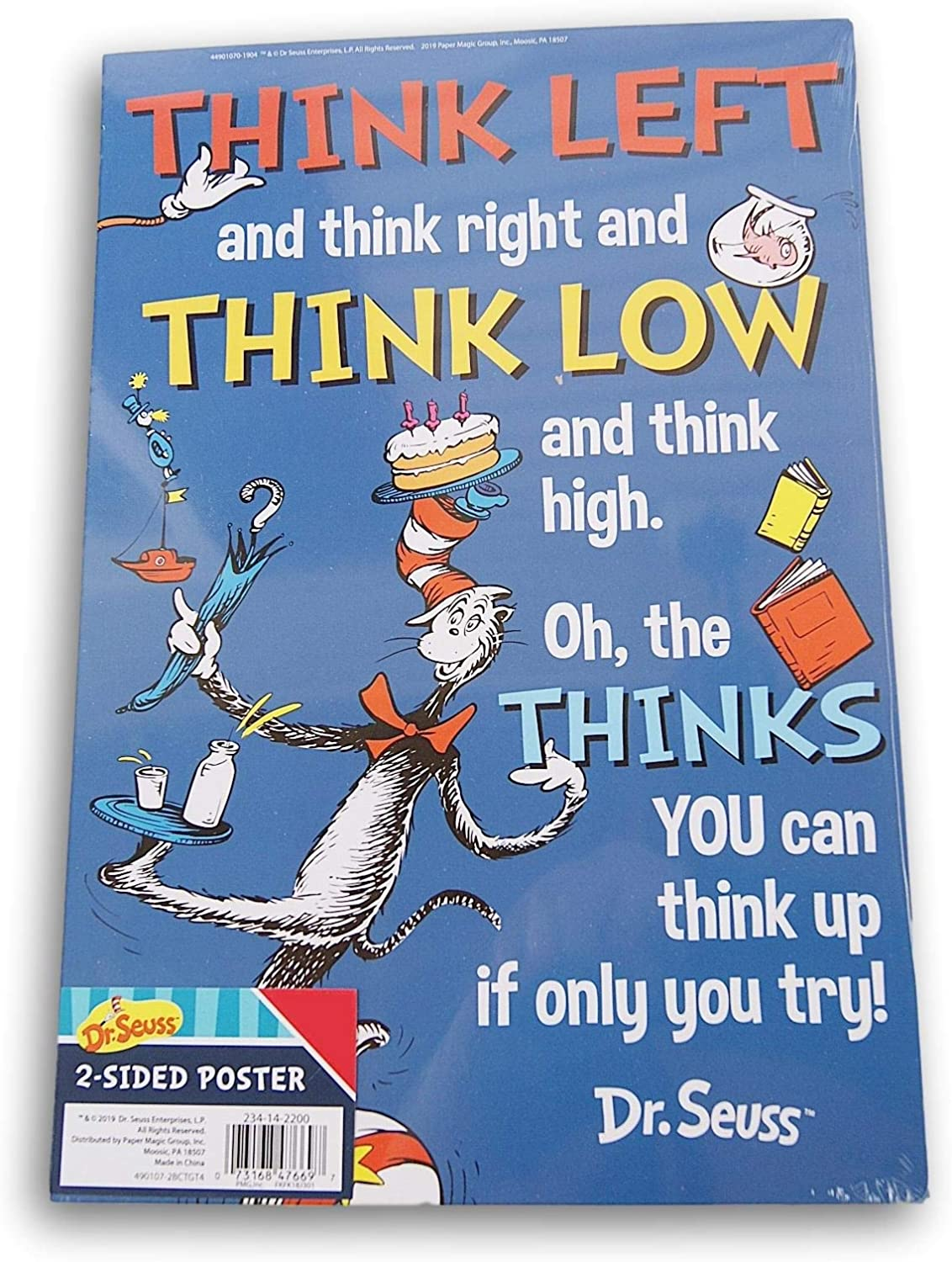 "Seuss 2-Sided Posters 12.5/"" x 8.5/"" 4 Variations You Choose NEW 2019 Dr"