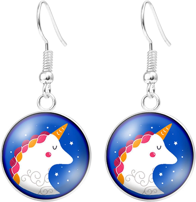 Bijoux en cabochon motif Licorne avec crini/ère color/ée sur fond couleur bleu ciel cr/éation fait main mod/èle au choix My Sunshine