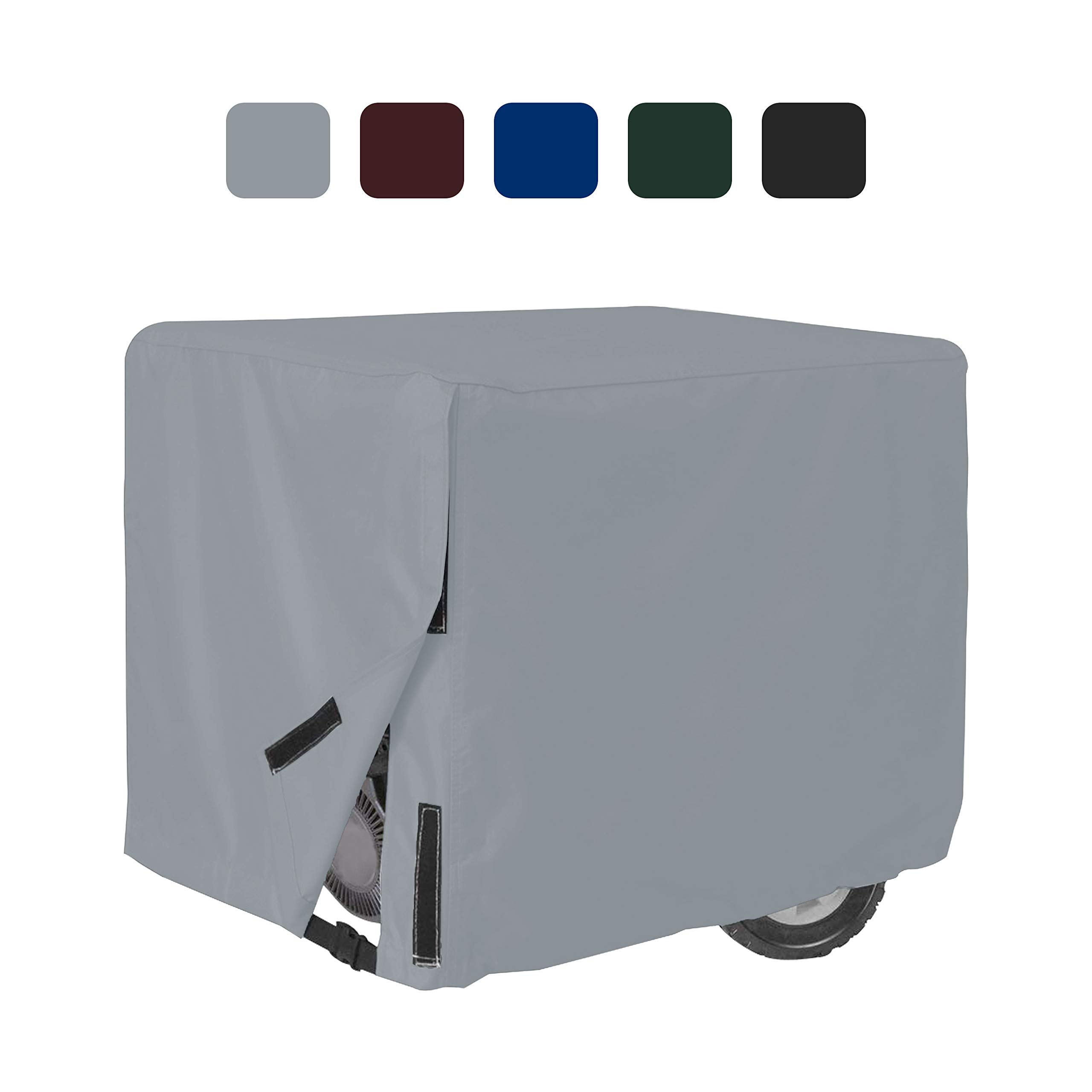 Outdoor Generator Covers 18 Oz Waterproof - 100% UV & Weather Resistant PVC Coated Generator Cover with Air Pockets and Drawstring for Sungfit (38'' X 28'' X 30'', Grey)