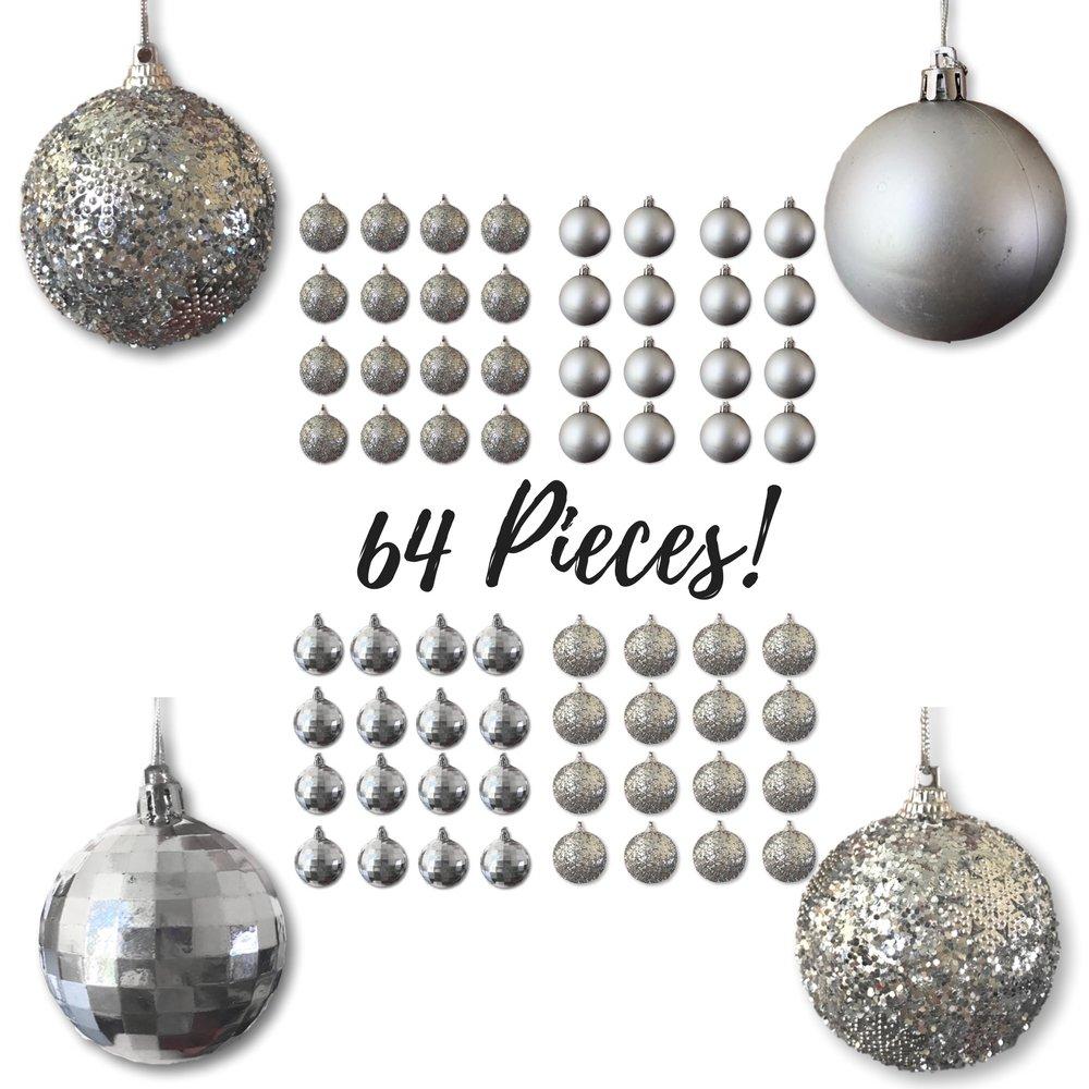 Amazon.com: Christmas Ball Ornaments - Silver Ball Ornaments - Pack ...
