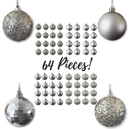 Christmas Ball Ornaments - Silver Ball Ornaments - Pack of 64 - Silver Satin  - Silver - Amazon.com: Christmas Ball Ornaments - Silver Ball Ornaments - Pack