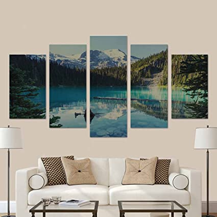Interestprint beautiful joffre lake in canada canvas print wall art painting for home decor 5 pieces