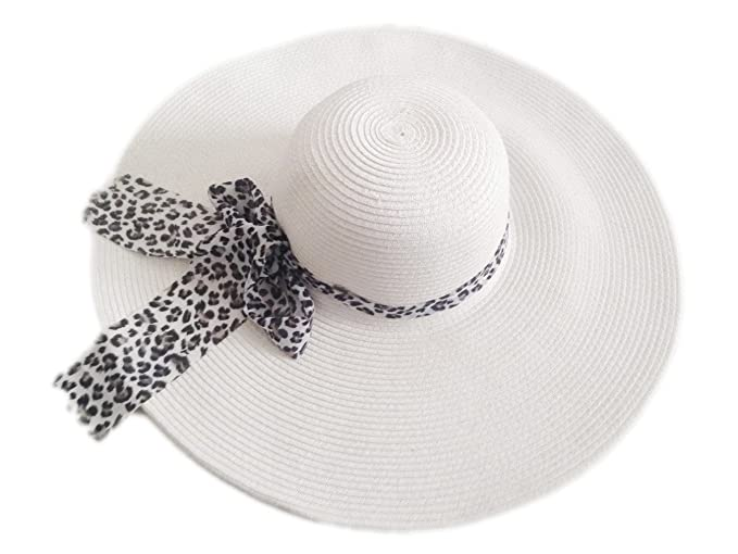 Jtc Women Wide Large Brim Straw Beach Sun Floppy Hat White Leopard ... 0e5335b5742