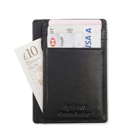 Negro Cartera Bloqueo RFID para hombre Delgado Monedero Billetera de Geniune Cuero con 8 Bolsillos Crédito