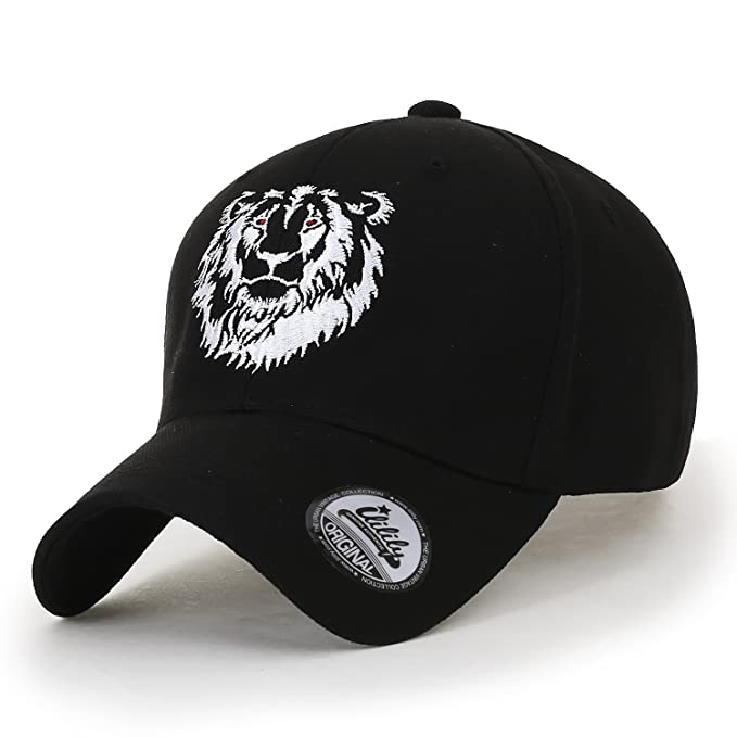ililily Red Eyes Lion Embroidered Cotton Casual Baseball Cap XL Trucker Hat, Black at Amazon Mens Clothing store: