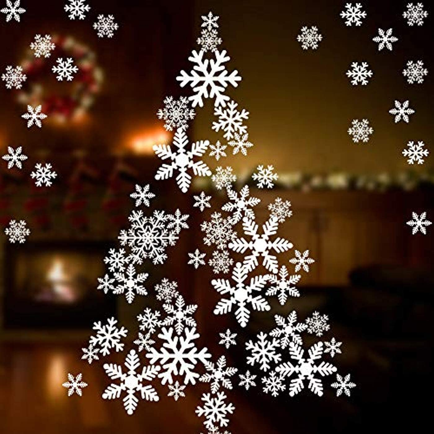 Christmas Gifts Vinyl Mural Snow Flakes Window Stickers Wall Art Decals LP